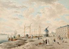 J. van Leeuwen - Waalkade met aanlegstijger en veerpont, de Kraan en Galerij - 1820-29