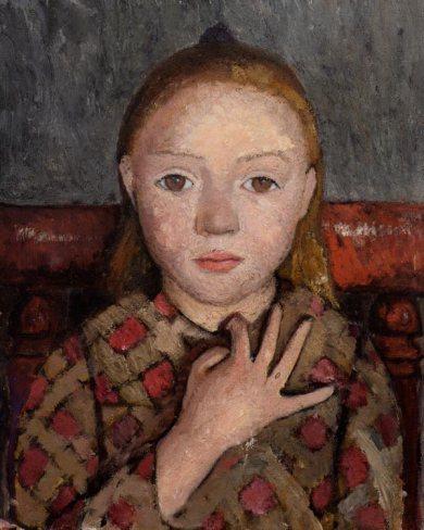 Meisje met gespreide hand voor borst - 1906